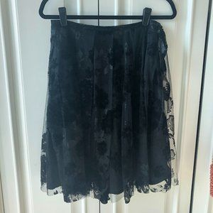 Lunn Black Tulle and Velvet floral print skirt